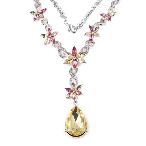 Designer Inspired- Simulated Citrine (Pear), Multi Colour Simulated Gemstone Necklace (Size 20 with 2 inch Extender) in Silver Tone