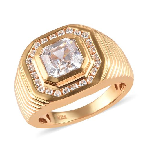 J Francis - 14K Gold Overlay Sterling Silver Ring made with SWAROVSKI ZIRCONIA 5.21 Ct, Silver wt. 8