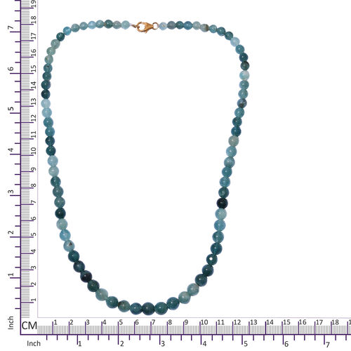 Extremely Rare- Grandidierite 135 Carat Round Beads Necklace (Size 18 Inch) with 14K Yellow Gold Lock