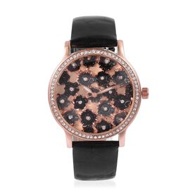 STRADA Japanese Movement Black and Grey Colour Enameled Flower Dial Water Resistant Watch with White Austrian Crystal in Rose Gold Tone with Black Colour Strap