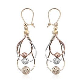 Royal Bali Collection - 9K Yellow, White and Rose Gold Hook Earrings, Gold wt 3.00 Gms.