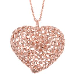 RACHEL GALLEY Rose Gold Overlay Sterling Silver Lattice Heart Necklace (Size 30), Silver wt. 34.42 Gms.