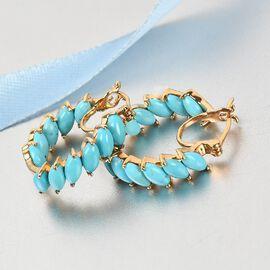 Arizona Sleeping Beauty Turquoise Hoop Earrings in 14K Gold Overlay Sterling Silver 5.750 Ct., Silver Wt. 5.30 Gms