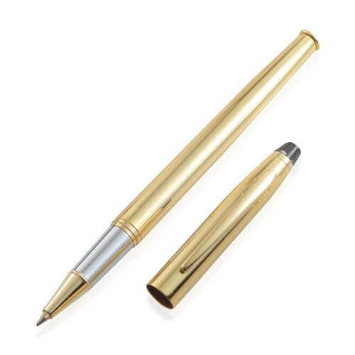Premium Ballpoint and Rollerball Pen Set with 2 Extra Cartridges in Black Box - 18K Gold Plated