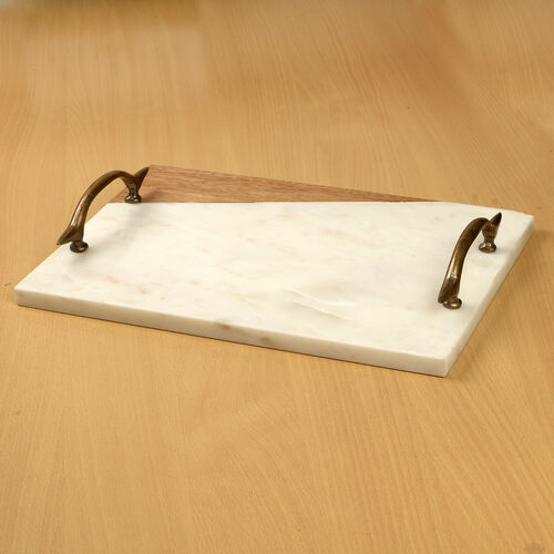 Rectangular Shape Marble and Wooden Tray with Brass Handle (Size 35.5X26 Cm)