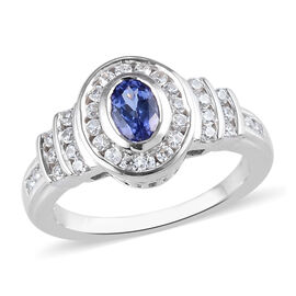 Tanzanite and Natural Cambodian Zircon in Platinum Overlay Sterling Silver 0.92 Ct.
