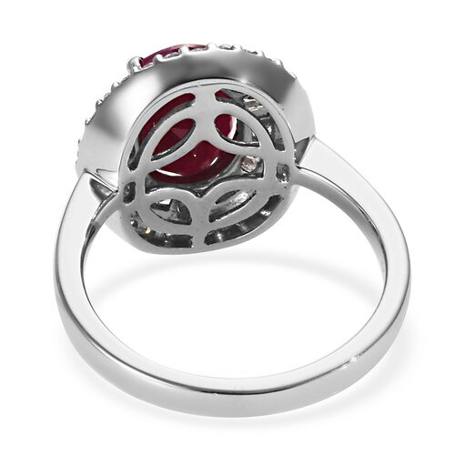 RHAPSODY 950 Platinum AAAA Burmese Ruby (Ovl), Diamond (VS/E-F) Ring 2.90 Ct.Platinum Wt 7.00 Gms