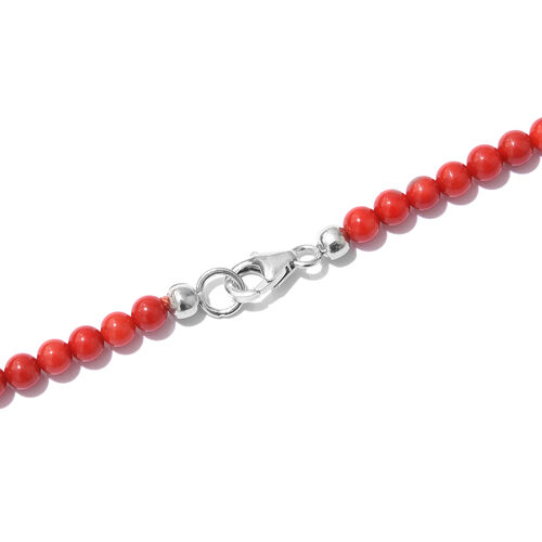 Set of 2- Coral Beads Necklace (Size 20) with Hook Earrings in Platinum Overlay Sterling Silver