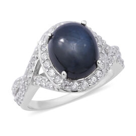 8.71 Ct Star Sapphire and Zircon Halo Ring in Rhodium Plated Silver