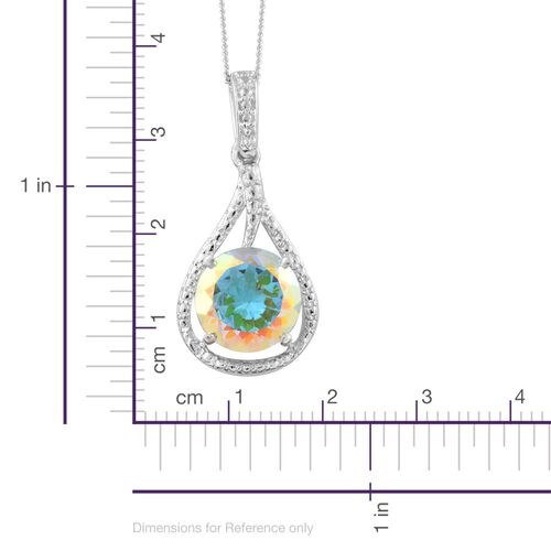 Mercury Mystic Topaz (Rnd) Solitaire Pendant With Chain in Platinum Overlay Sterling Silver 4.500 Ct.