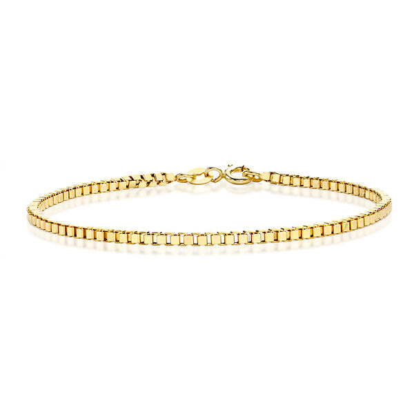 JCK Vegas Collection 9K Yellow Gold Box Bracelet (Size 7.5) with Lobster Clasp