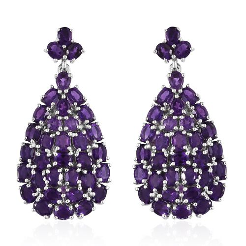 Lusaka Amethyst (Ovl) Drop Earrings (with Push Back) in Platinum Overlay Sterling Silver 10.500 Ct. Silver wt 10.97 Gms.