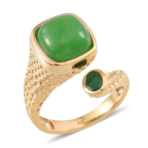 Green Jade (Cush 6.25 Ct), Kagem Zambian Emerald Ring in 14K Gold Overlay Sterling Silver 6.500 Ct.