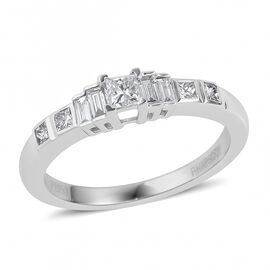 RHAPSODY 950 Platinum IGI Certified Diamond (Princess) (VS/E-F) Ring 0.500 Ct., Platinum wt 5.83 Gms.