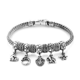 Royal Bali Collection - Sterling Silver Multi Charm Tulang Naga Bracelet (Size 7.5), Silver wt 45.00