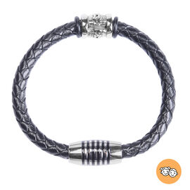 Genuine Braided Leather Enamelled Bracelet (Size 7) in Stainless Steel - Black