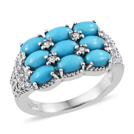 2.25 Ct Sleeping Beauty Turquoise and Cambodian Zircon Cluster Ring in Sterling Silver 4.37 Grams