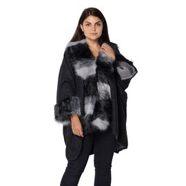 Winter Coat with Faux Fur Collar and Sleeves (Size 85x105 Cm) - Black and Grey