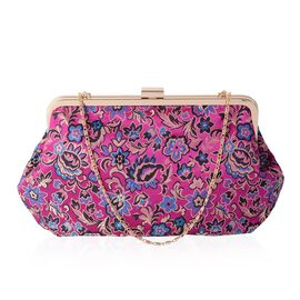 New Season - Fuchsia with Multi Colour Embroidery Flower Pattern Clutch Bag with Chain Shoulder Stra