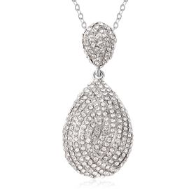 White Austrian Crystal Drop Pendant with Chain in Silver Tone 28 Inch with 2 inch Extender