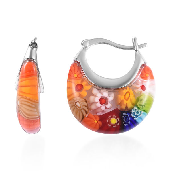 Multi Colour Murano Style Glass Earrings (with Clasp) in Stainless Steel