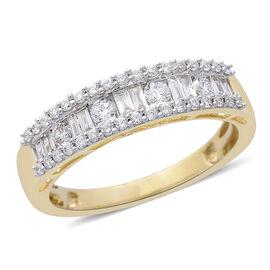 ILIANA 0.50 Carat Diamond Half Eternity Ring in 18K Gold 3.7 Grams