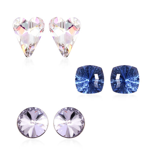 Set of 3 - Simulated Mercury Mystic Topaz, Simulated Blue Sapphire and Simulated Diamond Stud Earrin
