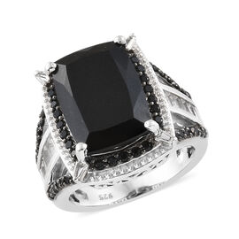 Black Tourmaline (Cush 6.35 Ct),Boi Ploi Black Spinel and White Topaz Ring in Platinum Overlay Sterl