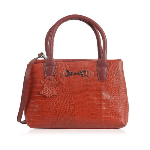 Limited Collection 100% Genuine Croc Embossed Leather with Horsebit Logo Classic Red Tote Bag with Adjustable Shoulder Strap(31x9.5x23 Cm)