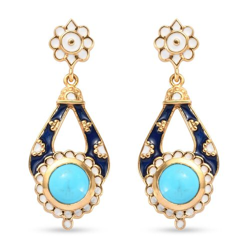 Arizona Sleeping Beauty Turquoise Dangling Enamelled Earrings (with Push Back) in 14K Gold Overlay S