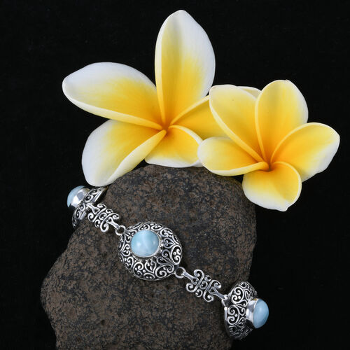 Royal Bali Collection Larimar (Rnd) Bracelet (Size 7.5) with T Lock in Sterling Silver 18.000 Ct. Silver wt 24.91 Gms.