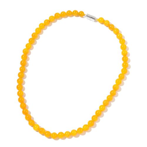 One Time Deal - Burmese Honey Jade Ball Beads Necklace (Size 18) with Magnetic Clasp in Rhodium Plated Sterling Silver 255.000 Ct.