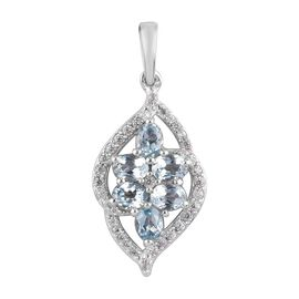 Santa Teresa Aquamarine and Natural Cambodian Zircon Pendant in Platinum Overlay Sterling Silver 1.1