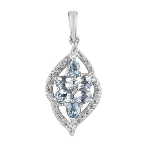 Santa Teresa Aquamarine and Natural Cambodian Zircon Pendant in Platinum Overlay Sterling Silver 1.1