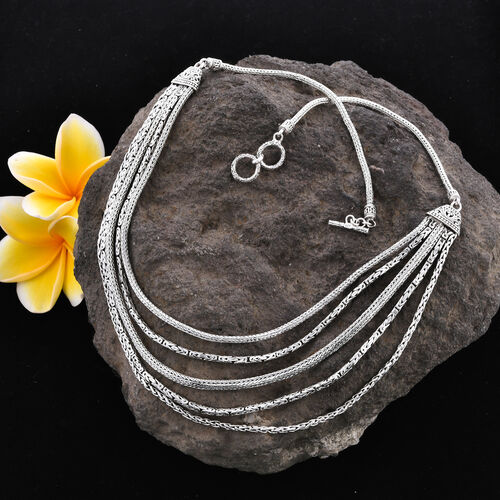 Royal Bali Collection - Sterling Silver Tulang Naga, Borobudur and Padian Multi Strand Necklace (Size 22) with Toggle Clasp, Silver wt 72.00 Gms