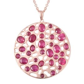 RACHEL GALLEY African Ruby (Ovl and Rnd) Pendant With Chain (Size 30) in Rose Gold Overlay Sterling