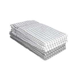 6 Piece Set- 100% Cotton White and Grey Checked Tea Towels(45Lx63Wcm)