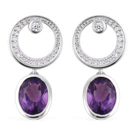 Isabella Liu Twilight  4.52 Ct Lusaka Amethyst and Zircon Drop Earrings in Rhodium Plated Silver