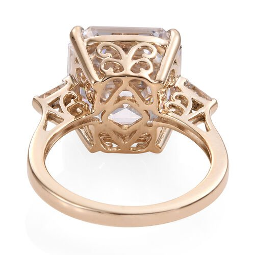 J Francis - 9K Yellow Gold (Asscher Cut 12x12) Ring Made with SWAROVSKI ZIRCONIA