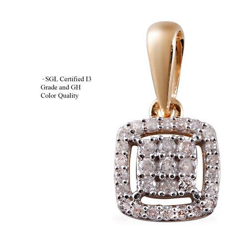 9K Yellow Gold SGL Certified Diamond (I3/G-H) Cluster Pendant 0.20 Ct.