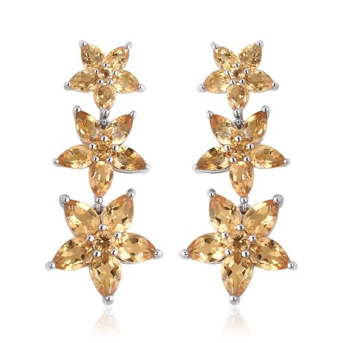 Citrine (Pear) Falling Flowers Earrings (with Push Back) in Rhodium Plated Sterling Silver 7.870 Ct.