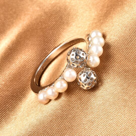 Rachel Galley Globe Pearl Collection - Freshwater Pearl Bypass Ring in Rhodium Overlay Sterling Silver