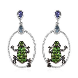 Tanzanite (Pear), Sky Blue Topaz, Russian Diopside and Boi Ploi Black Spinel Frog Earrings (with Push Back) in Platinum Overlay Sterling Silver 2.000 Ct. Silver Wt. 7.62 Gms