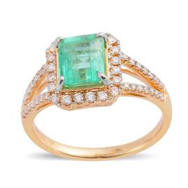 ILIANA 18K Yellow Gold AAA Boyaca Colombian Emerald (Oct) Diamond (SI/G-H) Ring 1.610 Ct.