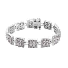OTO - J Francis Platinum Overlay Sterling Silver Bracelet (Size 7.5) made with SWAROVSKI ZIRCONIA 28