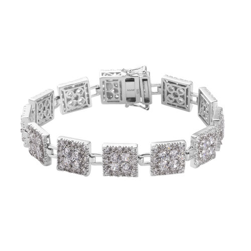 J Francis Platinum Overlay Sterling Silver Bracelet (Size 7.5) made with SWAROVSKI ZIRCONIA 28.83 Ct