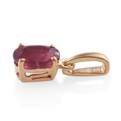 African Ruby (Ovl) Solitaire Pendant in 14K Gold Overlay Sterling Silver 1.000 Ct.