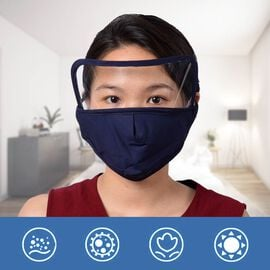 Reusable Face Covering with Eye Shield and Adjustable Ear Loop (Size 22x18cm) - Navy