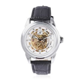 GENOA Automatic Skeleton Water Resistant White Austrian Crystal Studded Watch with Black Leather Str