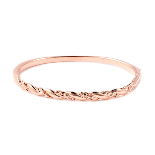Monster Deal RACHEL GALLEY Twisted Lattice Bangle in Rose Gold Plated Sterling Silver 7.5 Inch